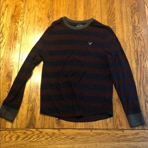 American Eagle maroon and navy striped sweater